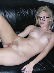 Hot Amateur Blonde Nerd Modeling And Spreading Nude